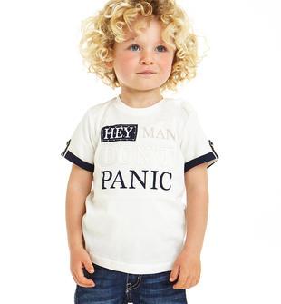 T-shirt 100% cotone con laccetti maniche sarabanda PANNA-0112