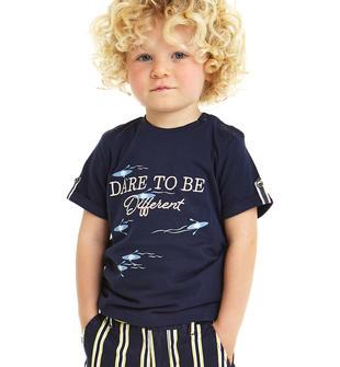 T-shirt 100% cotone con laccetti maniche sarabanda NAVY-3854