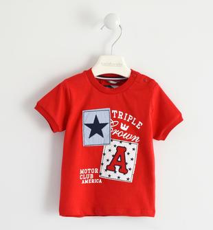 T-shirt 100% cotone grafica con toppe sarabanda ROSSO-2256