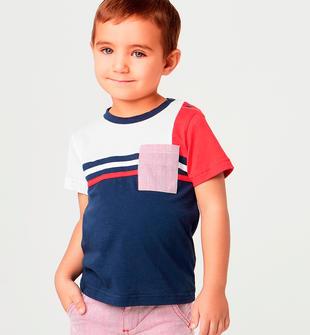 T-shirt mezza manica per bambino in cotone stretch con macro righe sarabanda NAVY-3854