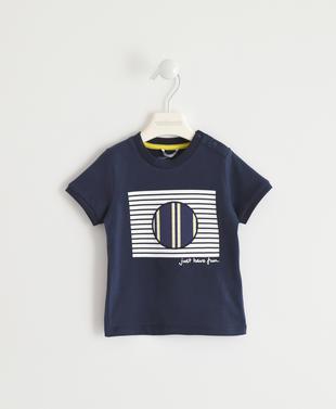 T-shirt 100% cotone con cerchi a righe e stelle sarabanda NAVY-3854