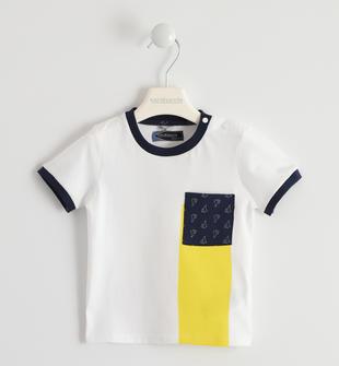T-shirt 100% cotone con taschino fantasia sarabanda BIANCO-0113