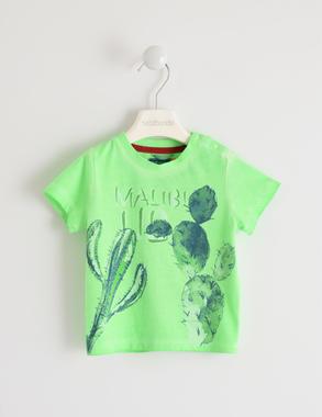T-shirt colori fluo con cactus sarabanda VERDE FLUO-5815