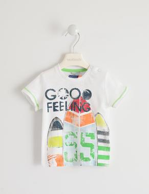 Colorata t-shirt 100% cotone stampa surf sarabanda BIANCO-0113