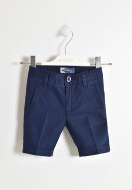Elegante pantalone corto in misto lino sarabanda NAVY-3854
