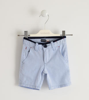 Pantalone corto in tessuto rigato 100% cotone sarabanda AZZURRO-3674