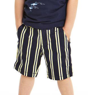 Pantalone corto rigato in twill sarabanda BIANCO-NAVY-6GR5