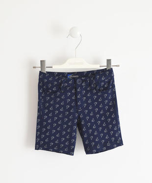 Pantalone corto in felpa leggera con fantasia all over sarabanda NAVY-BIANCO-6GP7