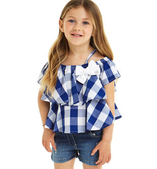 Camicia con balze fantasia a quadri 100% cotone sarabanda BLU ROYAL-3764