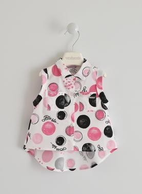 Camicia smanicata con fantasia scritte e pois sarabanda BIANCO-FUCSIA-6GR7