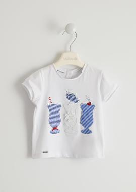 T-shirt in jersey stretch con applicazioni in tessuto rigato e san gallo sarabanda BIANCO-0113