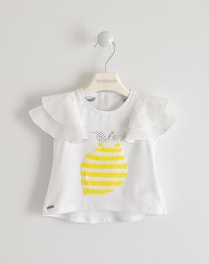 Particolare t-shirt con maniche in mussola ricamata sarabanda BIANCO-0113