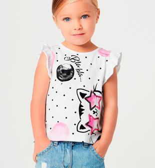 Particolare t-shirt con colorata stampa gattino e stelle paillettes sarabanda BIANCO-0113