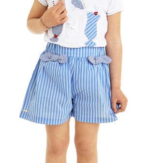 Pantalone corto in popeline fantasia micro riga sarabanda AVION-3642