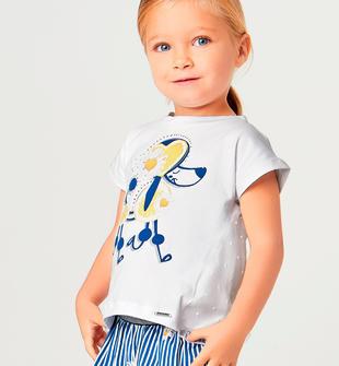 Completo t-shirt con barboncino e shorts rigati sarabanda BLU ROYAL-3764