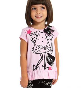 Completo glamour maxi maglia e leggings con scritte sarabanda ROSA-2754