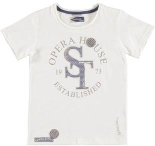 T-shirt 100% cotone con applicazioni di tessuto per bambino sarabanda PANNA-0112
