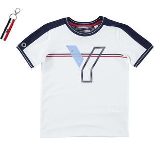 T-shirt bambino a manica corta in cotone stretch sarabanda BIANCO-0113