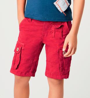 Bermuda bambino modello tasconato in cotone stretch sarabanda ROSSO-2259