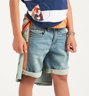 Bermuda bambino in felpa effetto denim con bande laterali sarabanda BLU LAVATO-7152