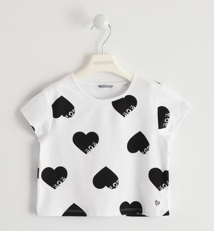 T-shirt bambina in cotone stretch con all over di cuori sarabanda BIANCO-NERO-6GP9