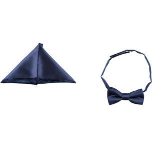 Kit papillon e pochette in elegante tessuto sarabanda NAVY-3854