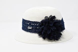 Cappello in rafia con fiore sarabanda NAVY-3854