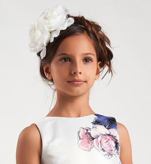 Raffinato cerchietto bambina con maxi fiore sarabanda PANNA-0112