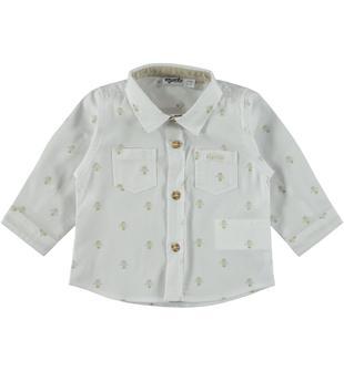 Camicia in popeline 100% cotone con mongolfiere mignolo BIANCO-BEIGE-6S15