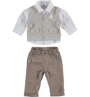 Completo in cotone con camicia, gilet e pantalone mignolo BEIGE-BEIGE-8208
