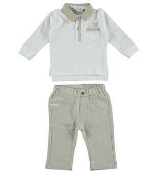 Completo in cotone con polo e pantalone in felpa mignolo BIANCO-BEIGE-8033