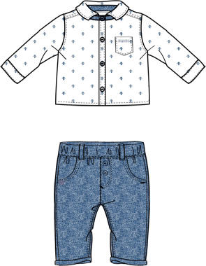 Completo con camicia in popeline di cotone e pantalone in piquet mignolo BIANCO-BLU-8020