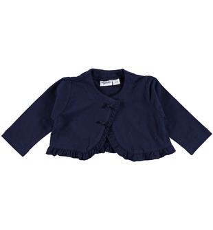 Cardigan corto in jersey stretch con rouches mignolo NAVY-3854