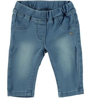 Pantalone in denim stretch effetto delavato mignolo BLU CHIARO LAVATO-7310