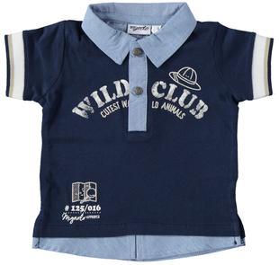 Polo a manica corta in jersey 100% cotone con finta camicia mignolo NAVY-3856