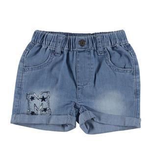 Pantaloncino corto in denim leggero effetto delavato mignolo BLU CHIARO LAVATO-7310