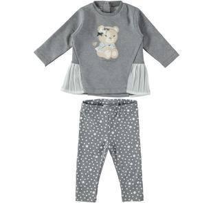 Tenero completo maxi maglia con orsetto e leggings a pois mignolo GRIGIO-PANNA-8139