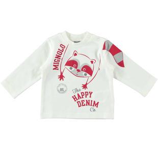 Maglietta girocollo 100% cotone con orsetto lavatore mignolo PANNA-ROSSO-8135
