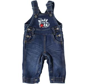 Salopette in denim stretch per neonato mignolo STONE WASHED-7450