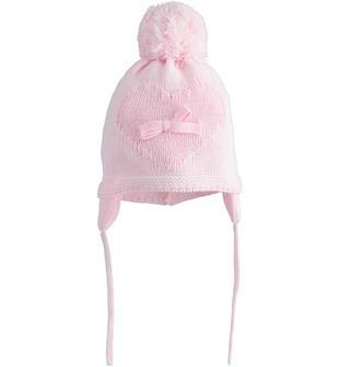 Cappello modello cuffia per neonata in tricot con paraorecchie minibanda ROSA-2763