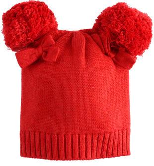 Cappello neonata in tricot con pompon minibanda ROSSO-2253