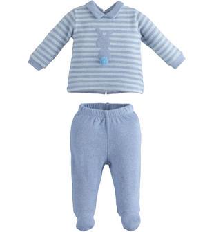 Tutina neonato due pezzi in cotone stretch effetto tricot minibanda CARTA ZUCCHERO MELANGE-8853