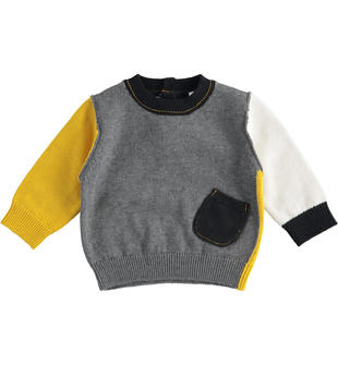 Maglia in tricot con gioco block color per neonato minibanda GRIGIO MELANGE-8993