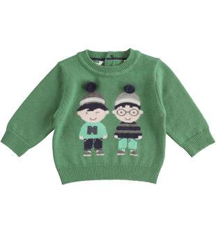Maglia in tricot con amici sorridenti minibanda VERDE-4733