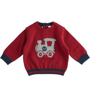 Maglia in tricot con trenino minibanda BORDEAUX-2548