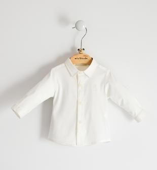 Camicia per neonato in popeline stretch minibanda PANNA-0112
