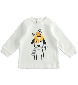 Maglietta girocollo 100% cotone con applicazioni per neonato minibanda PANNA-0112