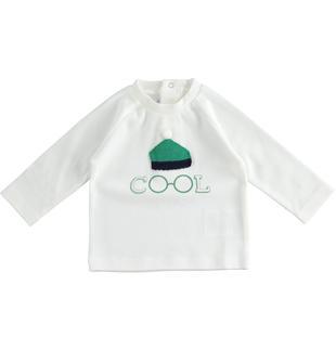 Girocollo 100% cotone con applicazione cappellino in maglia minibanda PANNA-0112