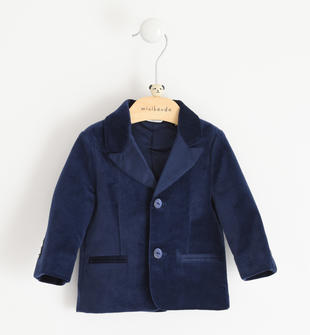 Elegante giacca in velluto liscio minibanda NAVY-3854