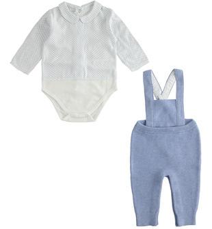 Grazioso completo per neonato body e salopette minibanda CARTA ZUCCHERO MELANGE-8853